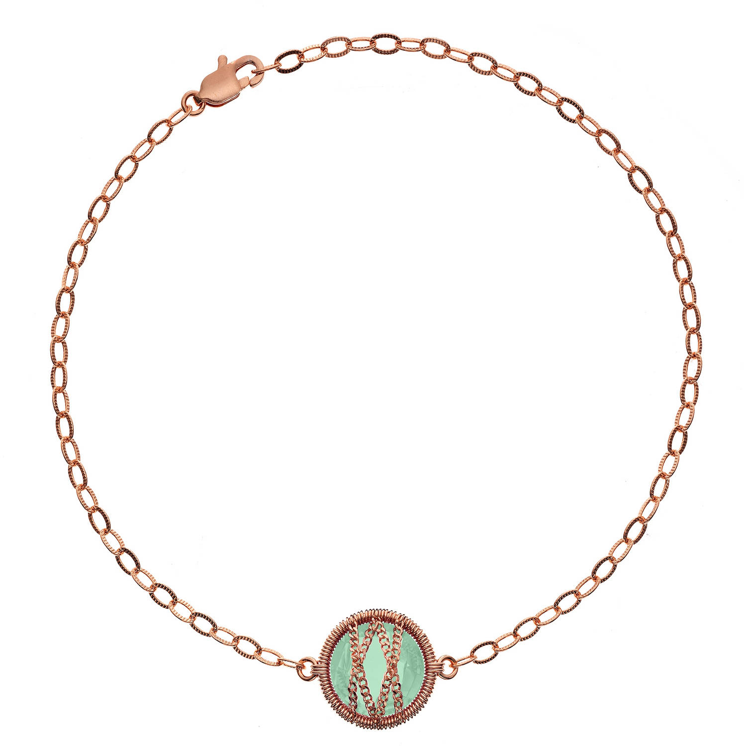 5th & Main Rose Gold over Sterling Silver Hand-Wrapped Single Round Chalcedony Stone Bracelet by Generic
