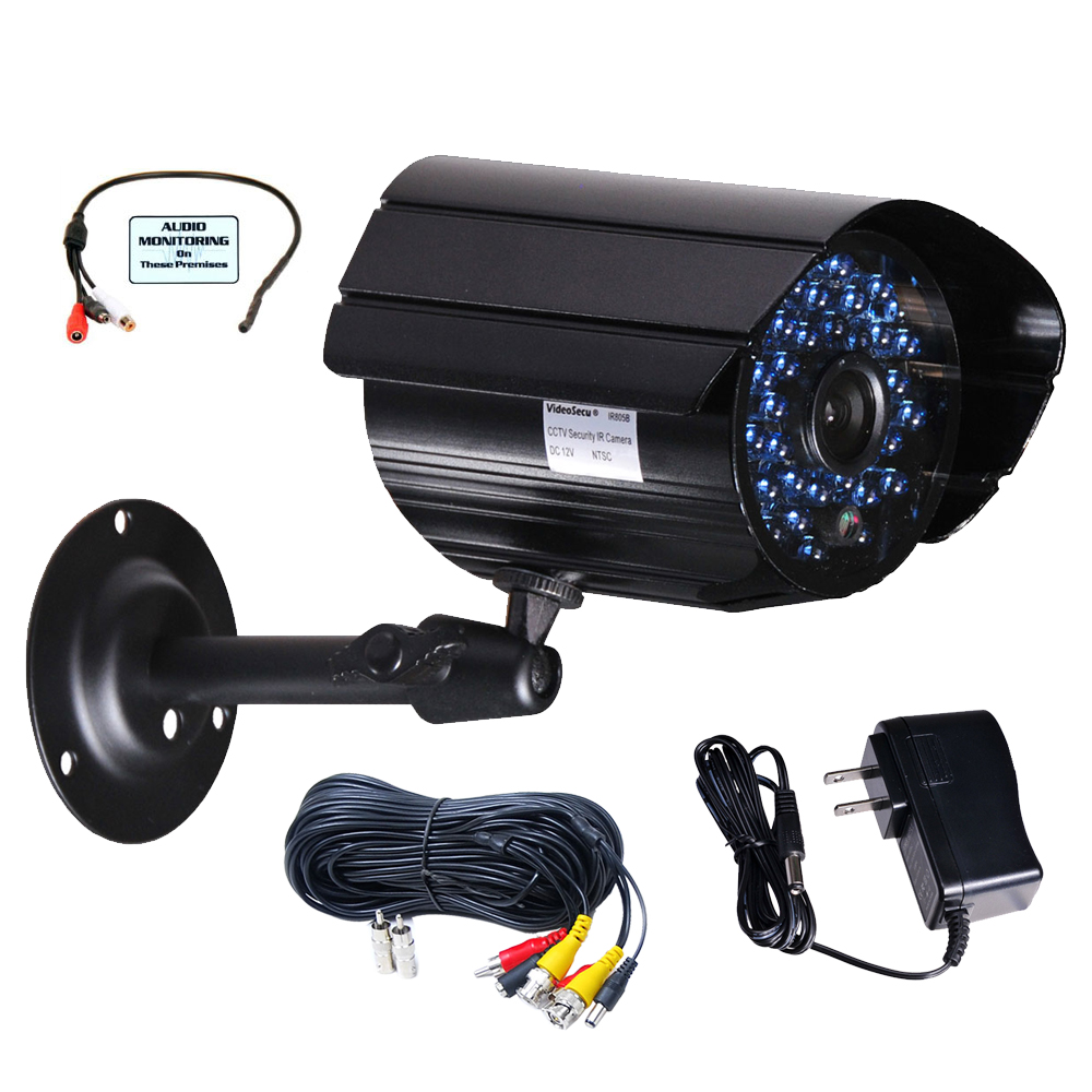VideoSecu Outdoor Security Camera IR Day Night 36 Infrared LEDs with Power, Cable and Audio Microphone IR807BMKC c6p