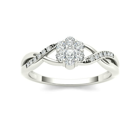 1/4Ct TDW Diamond S925 Sterling Silver Promise Ring