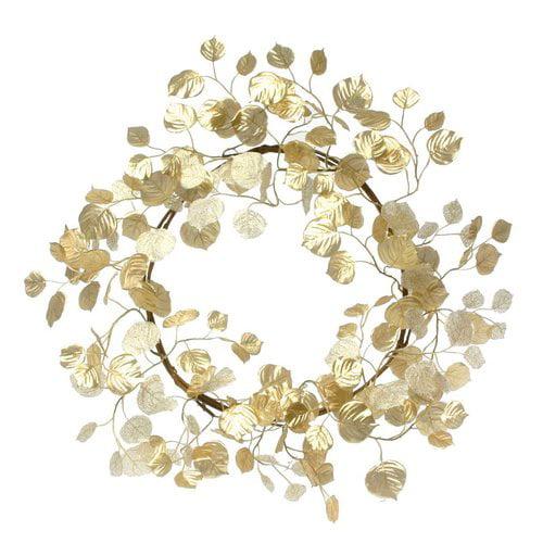 The Holiday Aisle Decorative Aspen Leaf 22'' Faux Silk Wreath