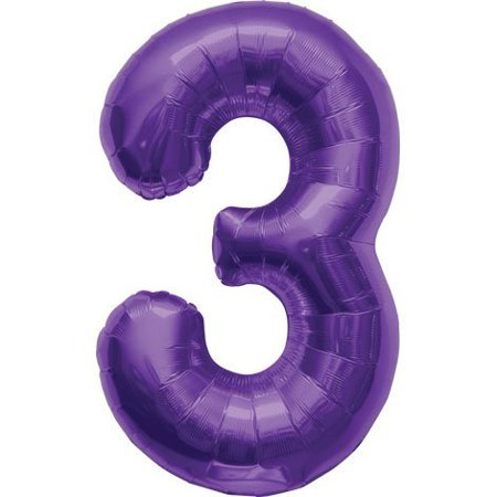 Number 3   Purple Helium Foil Balloon   34 Inch
