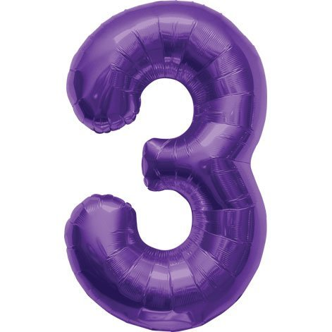 Number 3 - Purple Helium Foil Balloon - 34 inch