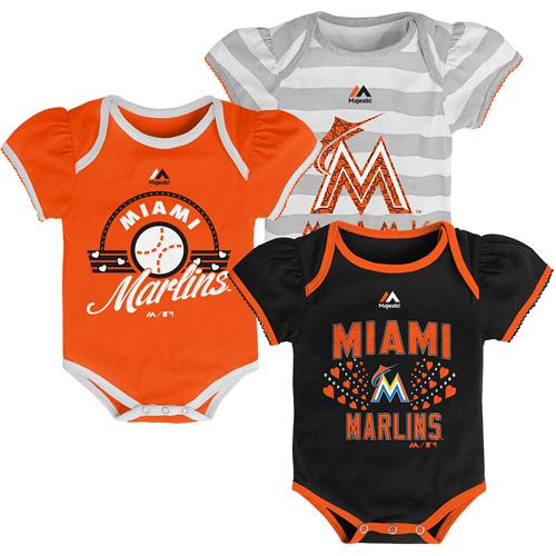 Miami Marlins Majestic Girls Newborn Triple Play 3-Piece Bodysuit Set - Black/Orange/Gray