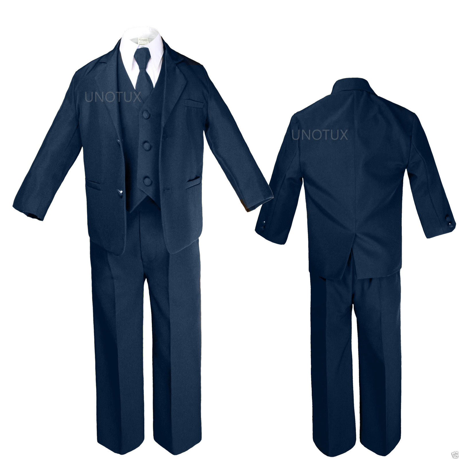 Infant Toddler BOY Kid Teen WEDDING CHURCH FORMAL TUXEDO Vest SUIT sz 0M-20 NAVY