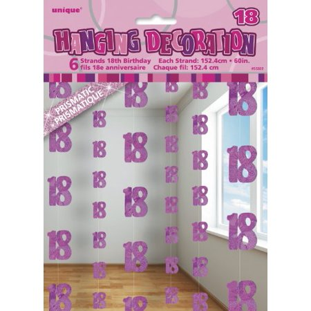 5ft Hanging Glitz Pink 18th Birthday Decorations Pack Of 6