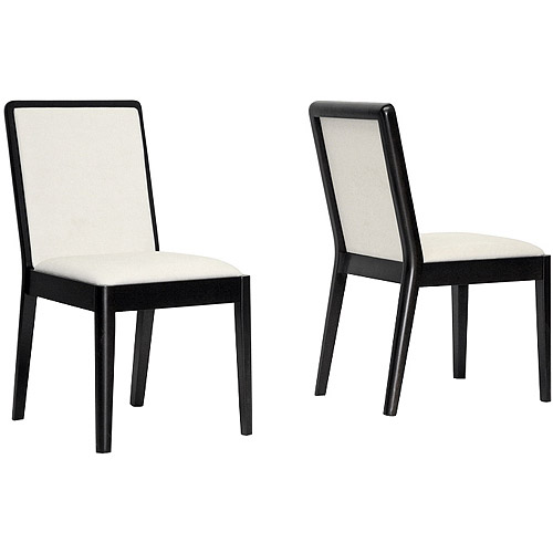Baxton Studio Maeve Modern Dining Chair, Set of 2, Dark Brown and Cream