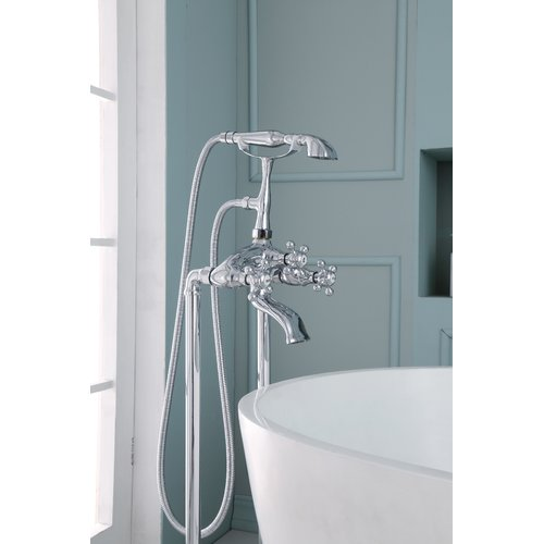 Ariel Bath Triple Handle Floor Mounted Freestanding Tub Filler with Hand Shower