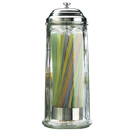 Palais Glassware High Quality Glass Straw Dispenser with Chrome Base and Cover - 11 Inch High