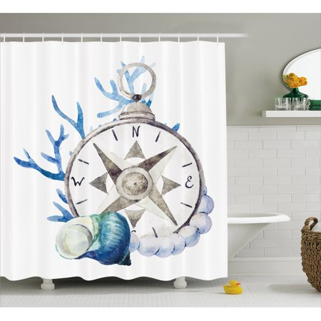 Compass Shower Curtain, Watercolor Marine Life Theme Seashell Compass Voyaging Vibrant Color Print, Fabric Bathroom Set with Hooks, Navy Blue Eggshell, by Ambesonne ()