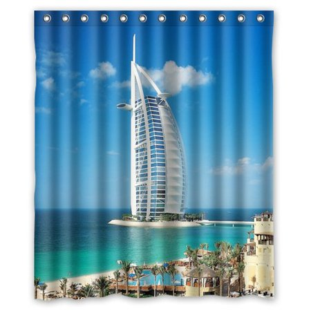 Greendecor arab sea hotel in dubai waterproof shower curtain set with hooks bathroom accessories - Bathroom accessories dubai ...