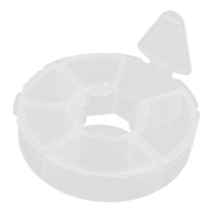 Household Plastic Round Design Gadget Separating  Storage Box Case Clear (Clear Round Box)