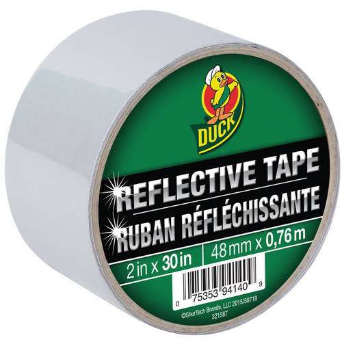 "Duck Brand Reflective Tape, White, 2"" x 30"""