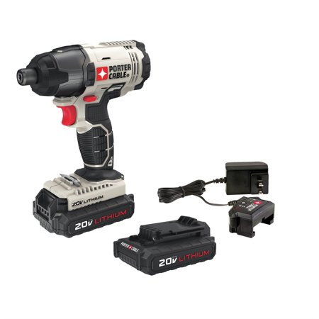 Factory-Reconditioned Porter-Cable PCC641LBR 20V MAX Cordless Lithium-Ion 1/4 in. Hex Impact Driver Kit