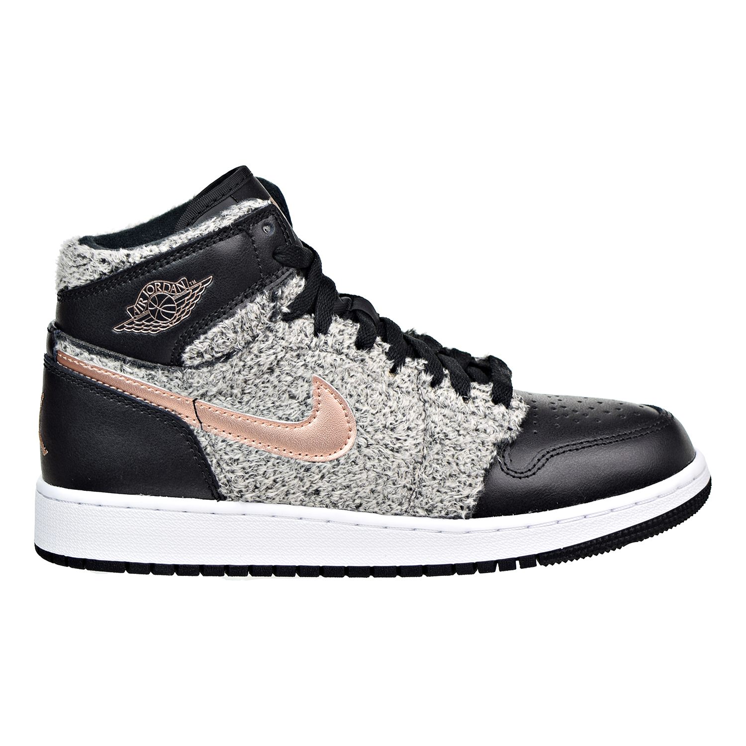Air Jordan 1 Retro High GG Big kids Shoes Black/Metallic Bronze/White 332148-022