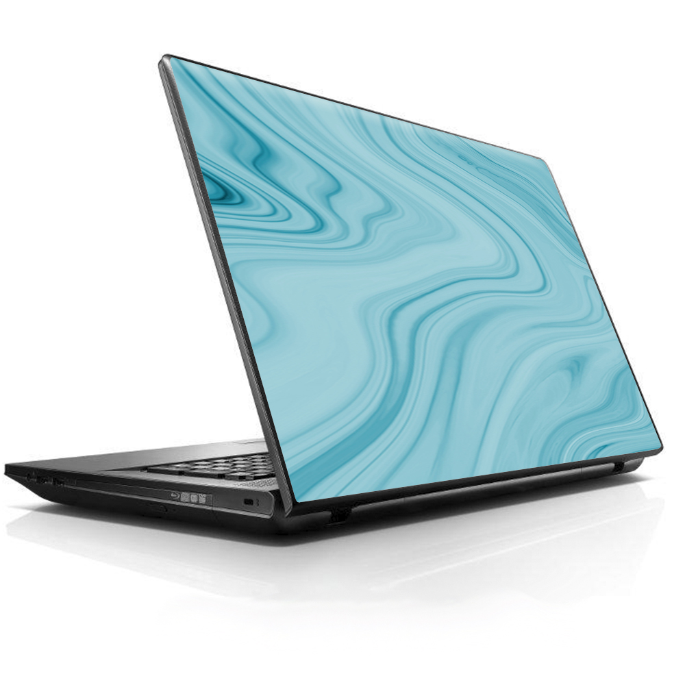 "Laptop Notebook Universal Skin Decal Fits 13.3"" to 15.6"" / Teal Blue Ice Marble Swirl Glass"