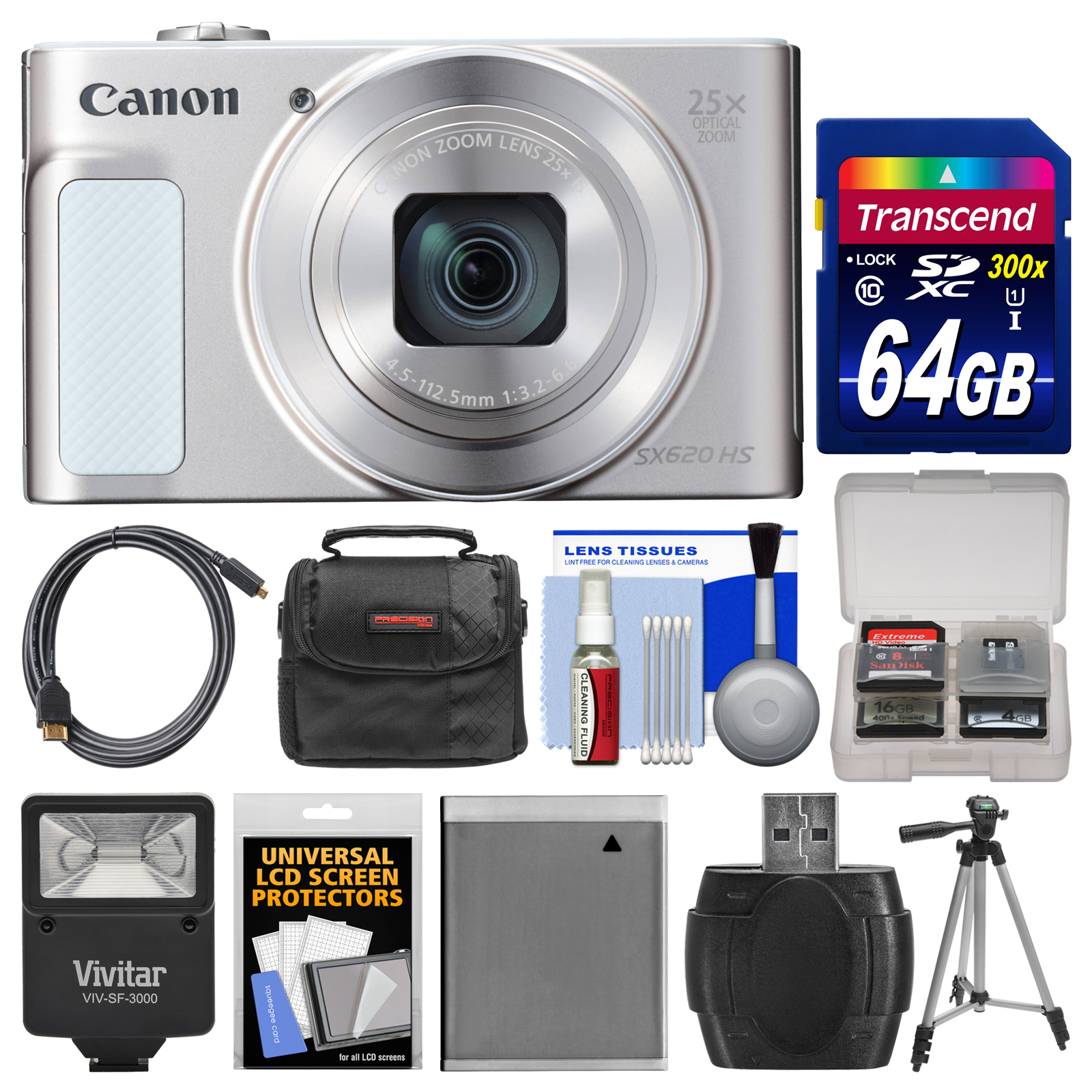Canon PowerShot SX620 HS Wi-Fi Digital Camera (Silver) wi...