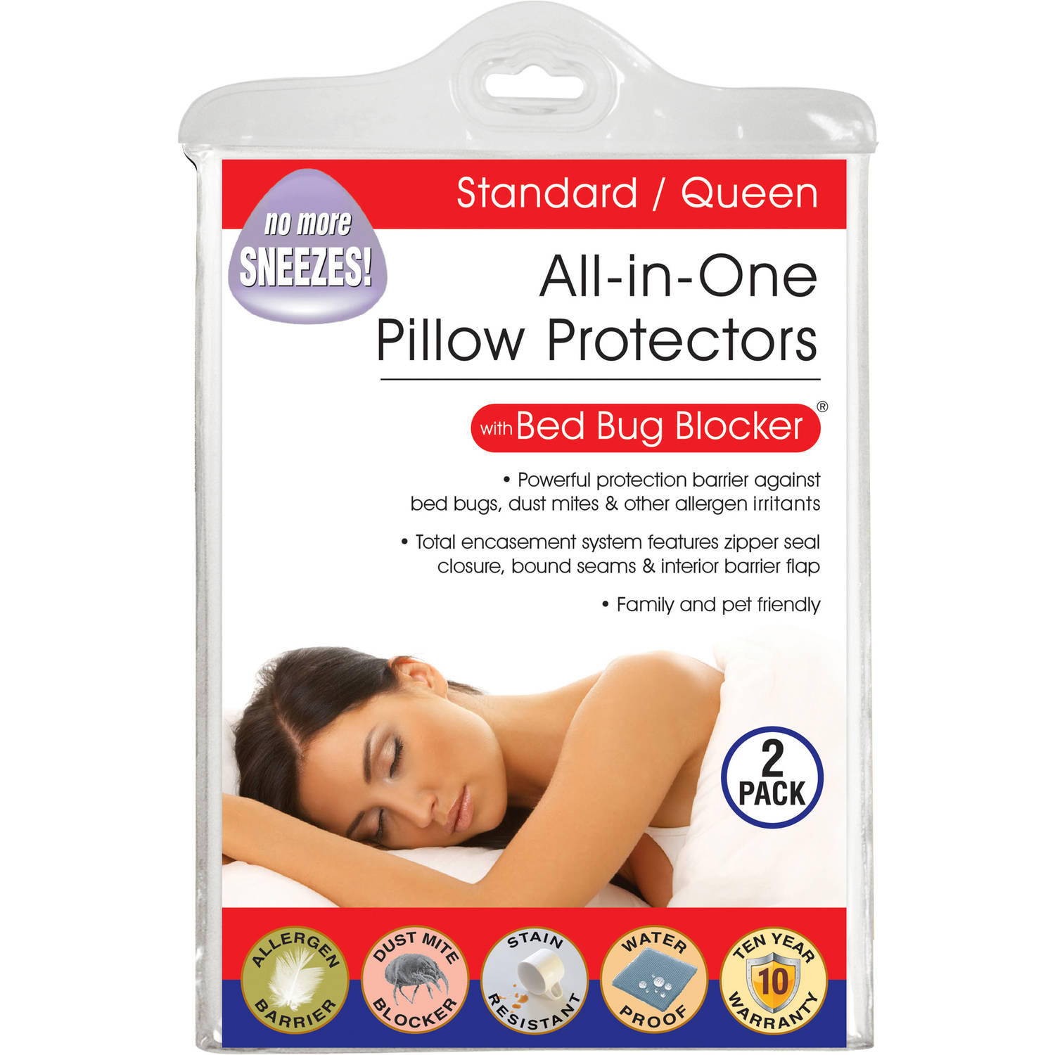 Luxury Cotton Rich Bed Bug Blocker Pillow Protector, Standard/Queen