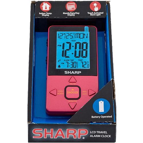 Sharp LCD Travel Alarm Clock, Pink Case