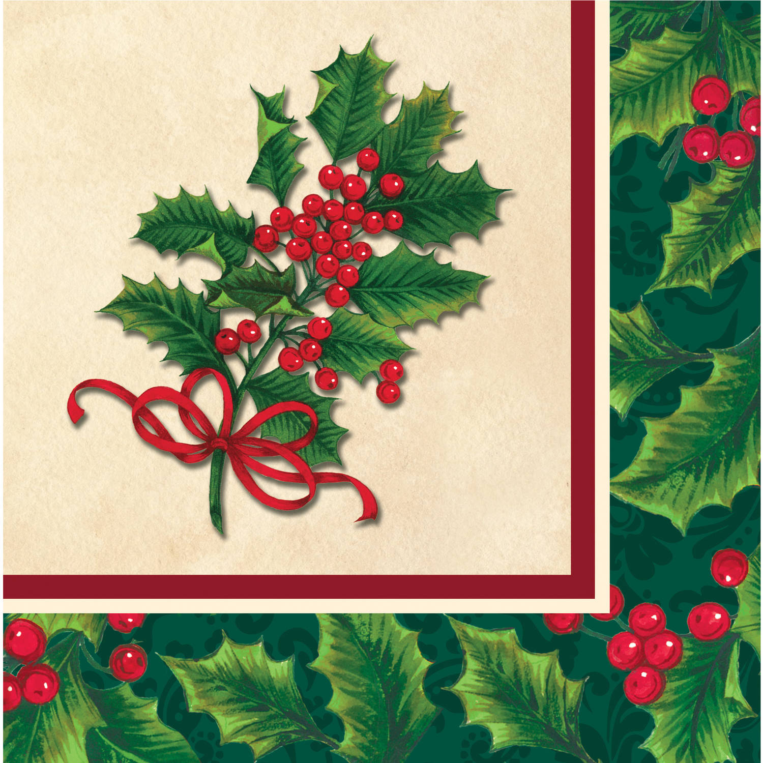 Boughs of Holly Napkins, 16-Pack