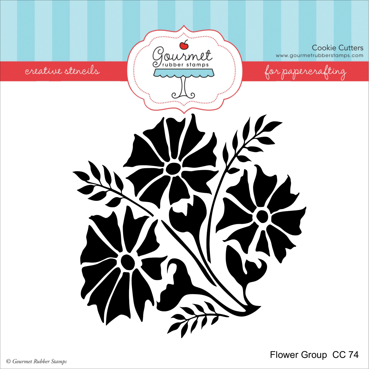 """Gourmet Rubber Stamps Stencil 6""""X6""""-Flower Group"""