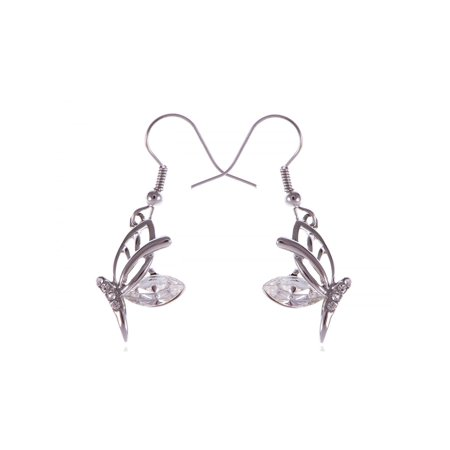 Silver Toned Half Flying Butterfly Clear Crystal Wings Dangle Fish Hook Earrings