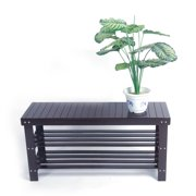 Clearance! 3-Tier Shoe Rack Bench, Heavy Duty Entryway Shoe Storage Bench, Shoe Rack with Bench Seating for Hallway Bathroom Living Room, Bamboo Shoe Rack Holds Up to 551 Lb, Coffee, W934