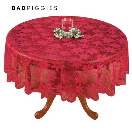 BadPiggies Christmas Tablecloth Red Lace Floral Table Cover For Christmas Thanksgiving Wedding Party Table Decor (Rectangle ,60