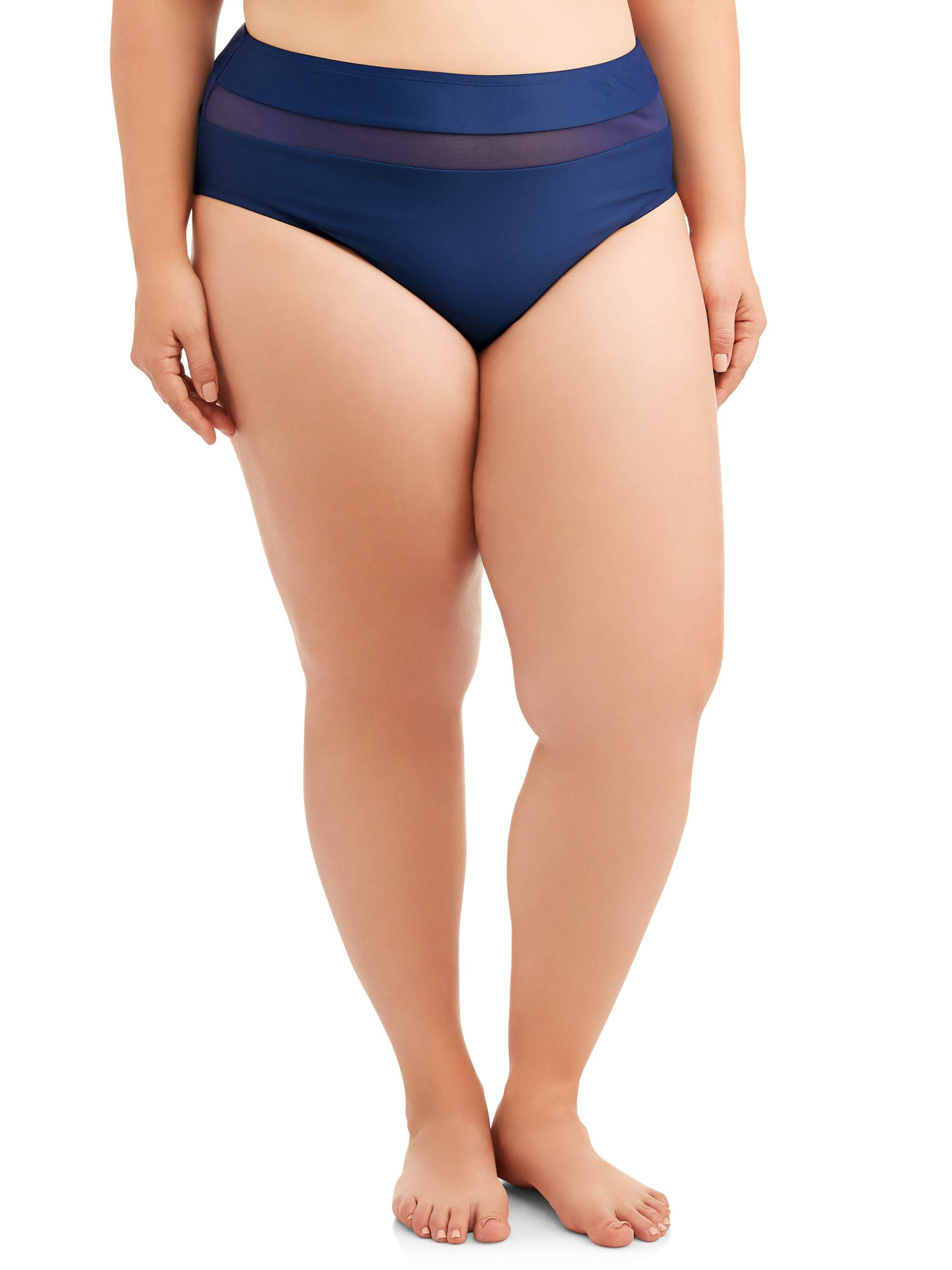 Women's Plus Size Mesh Insert High Waist Swimsuit Bottom