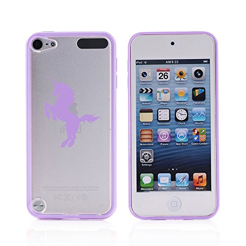 For Apple iPod Touch 6th Generation Transparent Clear Hard TPU Case Cover Unicorn (Purple )
