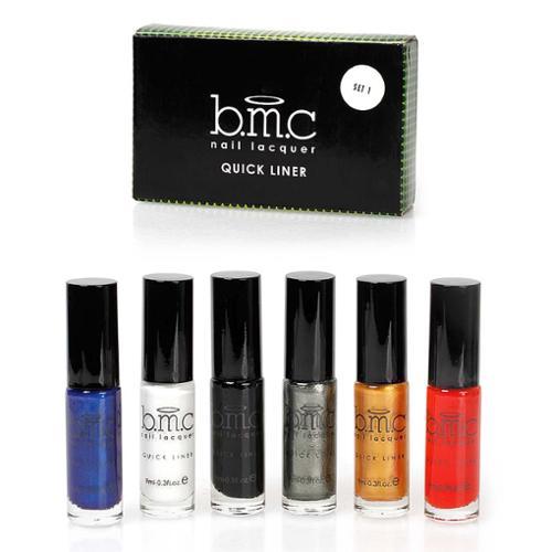 BMC 6pc Long Striper Dotting Brush DIY Nail Art Polishes - Quick Liner Set 1