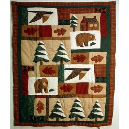 Winter Cabin Quilted Throw Blanket 50