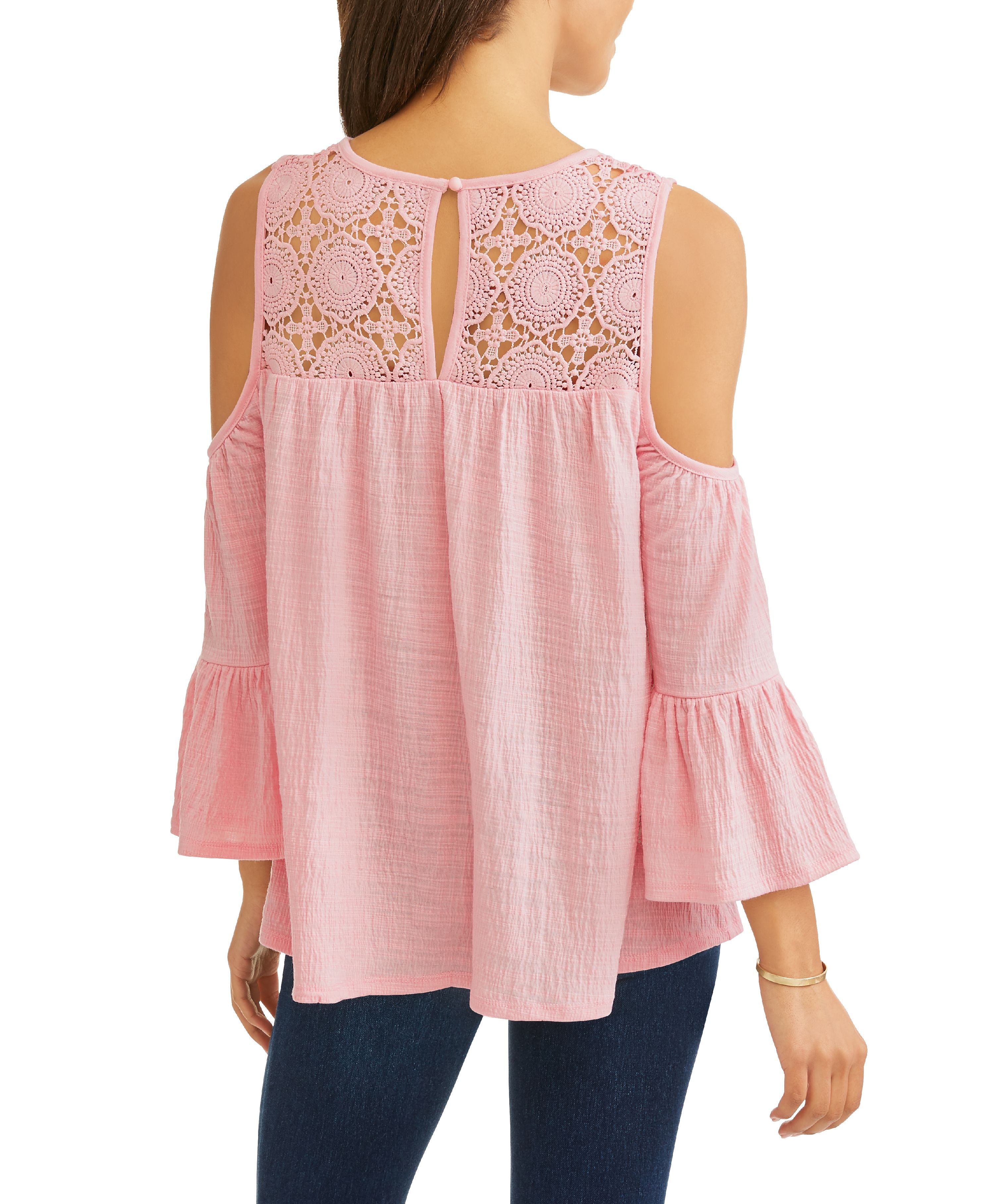 88f466922bb269 Time and Tru - Women s Long Sleeve Lace Cold Shoulder Peasant Top ...