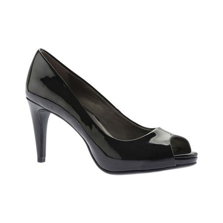 Womens Bandolino Rainaa Peep Toe Pumps, Black Patent