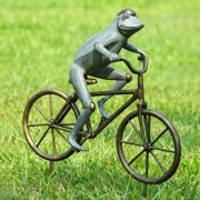 SPI Home San Pacific International Frog on Bicycle Garden Statue