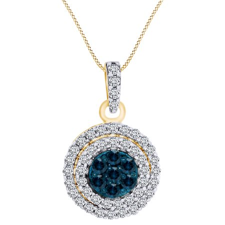 0.50 Carat (Cttw) Round Shape Blue & White Natural Diamond Halo Pendant Necklace 10k Solid Yellow Gold