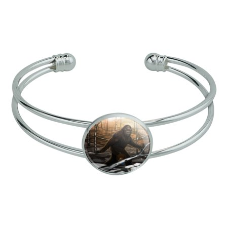 Wood Bangle - Bigfoot Sasquatch Walking in the Woods Novelty Silver Plated Metal Cuff Bangle Bracelet