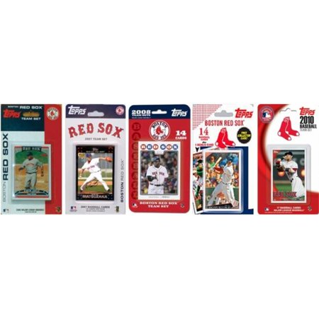 C & I Collectables REDSOX5TS MLB Boston Red Sox 5 Different Licensed Trading Card Team Sets Boston Red Sox Baseball Cards