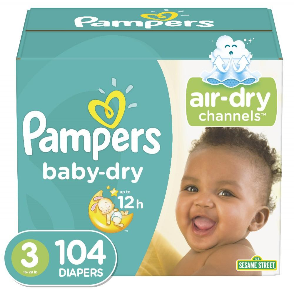 Pampers Baby Dry Diapers Size 3 104 Count