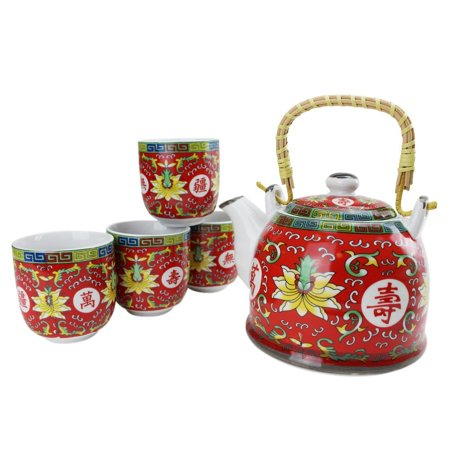 Antique Design Chinese Hand Painted 33 fl oz Ceramic Teapot with 4 tea cups set