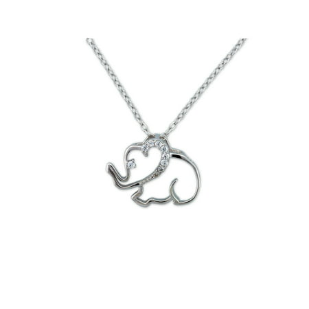 - CZ Sterling Silver Outlined Elephant Pendant, 18