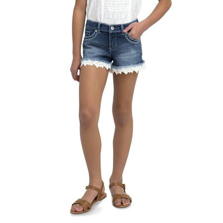 7bfe205960 Jordache Girls  Crochet Hem Denim Short - Walmart.com