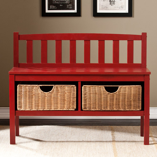 Lincoln Bench with Storage Baskets, Red
