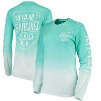 Miami Hurricanes Blue 84 Women's Iniquity Ombre Oversized Long Sleeve T-Shirt - Aqua