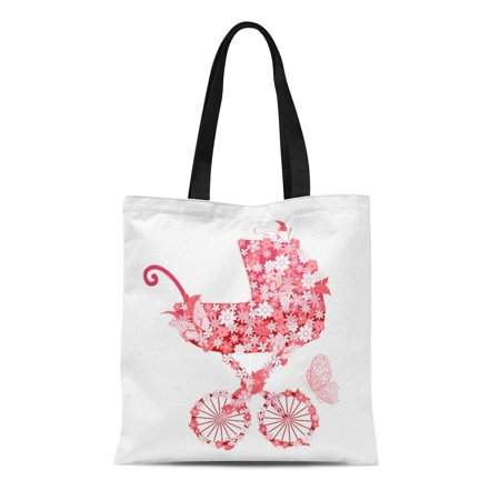 KDAGR Canvas Bag Resuable Tote Grocery Shopping Bags Baby Stroller of Flowers for Girls Carriage Party Vintage Little Butterfly Cute Tote Bag (Butterfly Carriage)