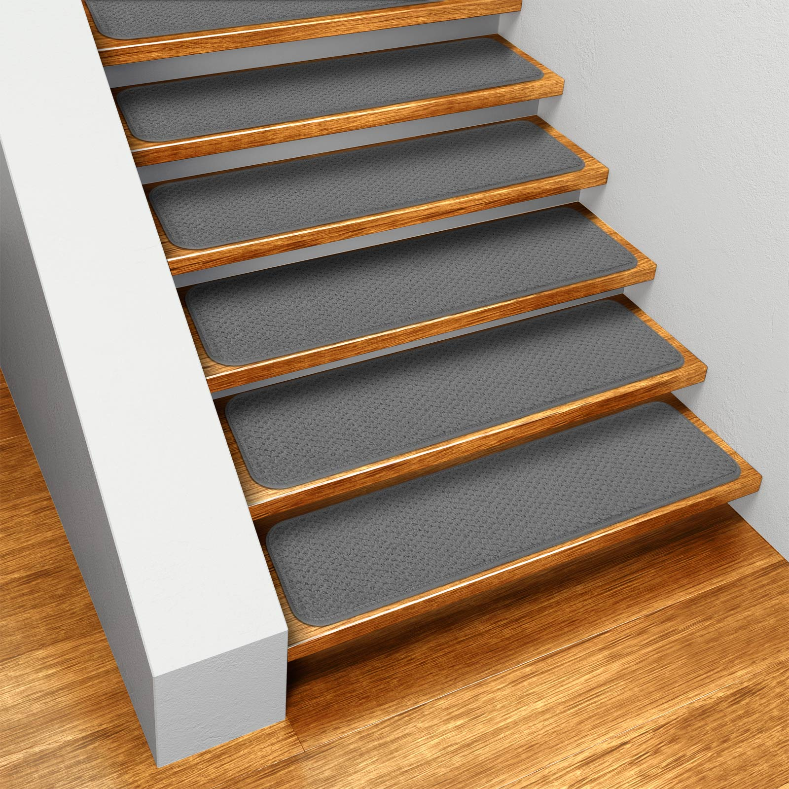 Set of 15 Skid-resistant Carpet Stair Treads - Gray - 8 In. X 23.5 In. - Several Other Sizes to Choose From