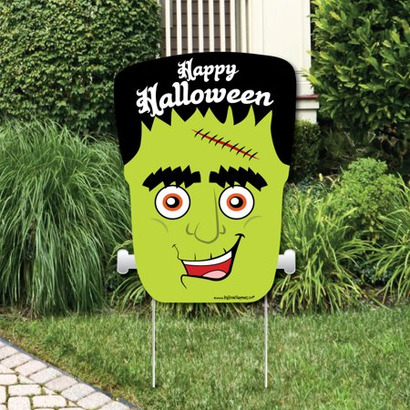 Welcome To Our Halloween Party (Halloween Monsters - Party Decorations - Frankenstein Halloween Party Welcome Yard)