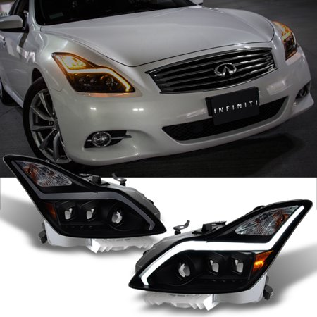 For 2008-2015 G37 / Q60 Coupe Black Smoked Sequential LED Projector Headlights