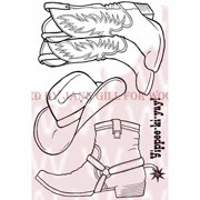 """Woodware Clear Stamps 3.5""""X5.5""""-Cowboy Boots"""
