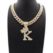 """Hip Hop Unisex Fashion Crown Initial Letter Pendant K w/ 18"""" Gold Tone Box Lock Iced Out Cuban Chain"""