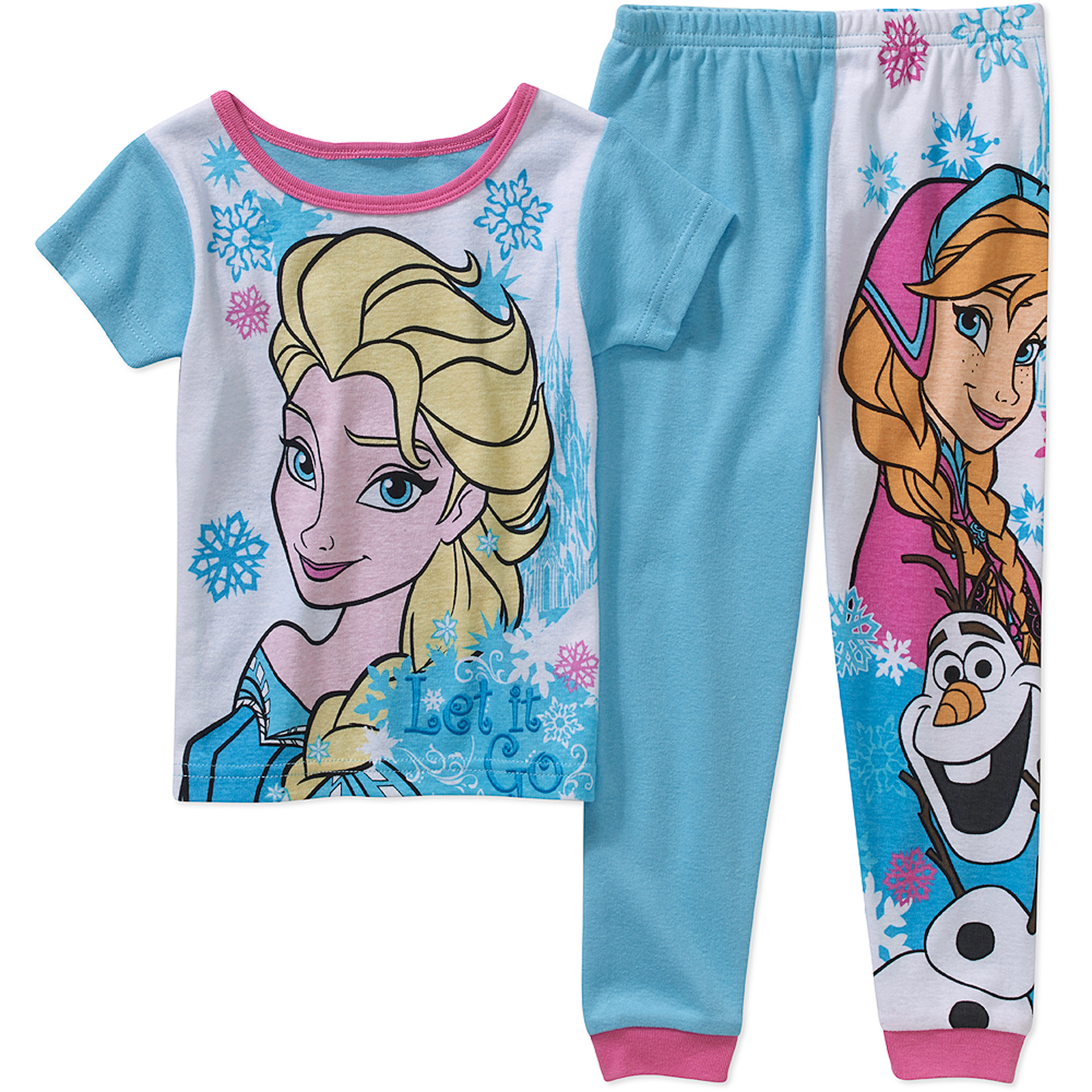 Disney Frozen Baby Toddler Girl Short Sleeve Cotton Tight Fit Sleepwear Set